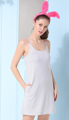 Cotton Striped Short Nighty With A Crisscross Back