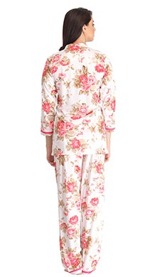 Satin Floral Print Shirt & Pyjama Set