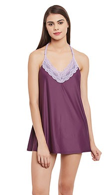 Lacy Babydoll With Halter Straps - Purple