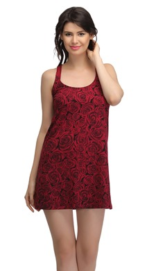 Floral Print Baby Doll Nighty With Cross Back - Pink