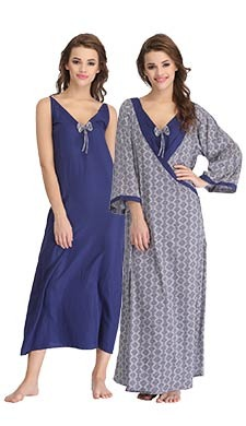 Crepe Printed Long Nightie & Robe Set - Blue