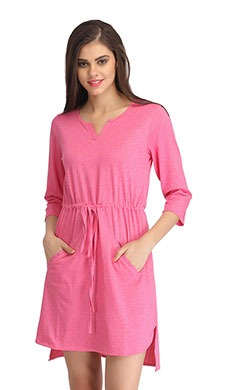 Cotton Short Nightie with Side Slits - Pink