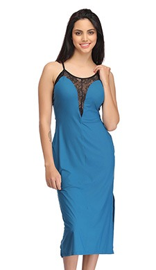 Lace Neck Nightie With Side Slit