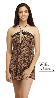 Animal Print Babydoll with Thong