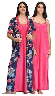 Satin Nightie With Printed Robe