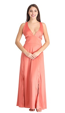 Crepe Plunge Neck Nighty with High Slits & Cross Back - Clovia Fashion Shop By Fabric