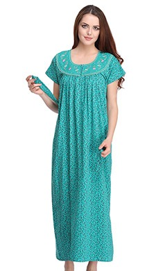 Cotton Rich Printed Nighty With Waistbelt