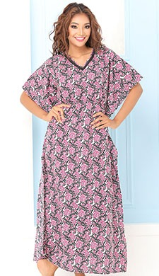 Cotton Rich Printed Kaftan Style Nighty