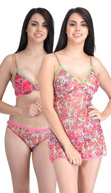 Set Of Printed Babydoll And Push-Up Bra-Bikini