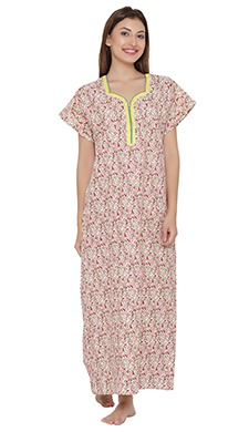 Floral Print Nighty With Zip Closure