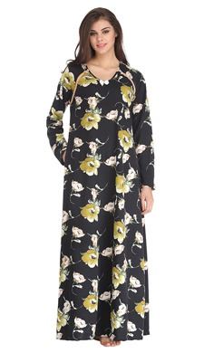 Floral Print Full Sleeves Long Woollen Nighty - Black