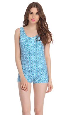 Polyamide Padded Monokini Swimsuit In Turquoise