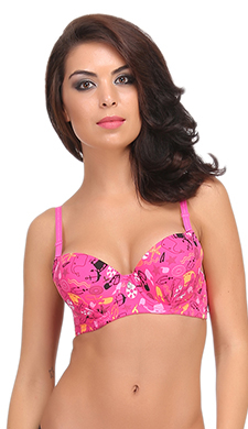 Balconette Padded Bra In Pink With Detachable Straps
