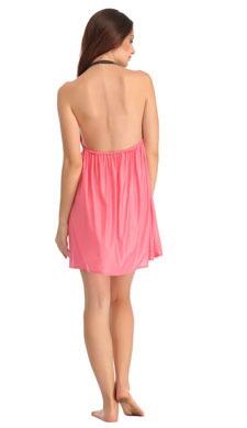 Satin & Lace Short Babydoll - Pink