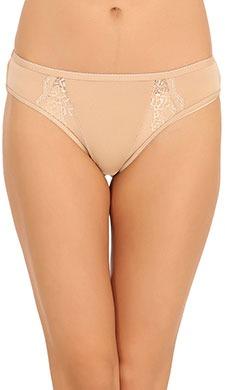 Cotton Mid Waist Bikini With Lace Side Wings - Skin