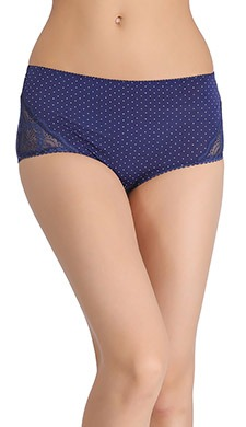 Polka Print High-Waist Hipster With Lacy Side Wings - Blue