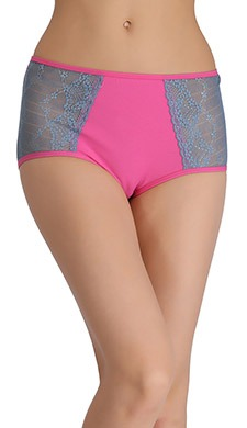 Cotton Contrasting High-Waist Hipster With Lacy Side Wings - Pink