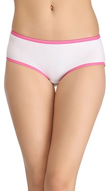 Cotton High-Waist Hipster With Contrast Elastic - White