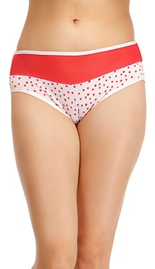 Cotton High Waist Polka Print Hipster