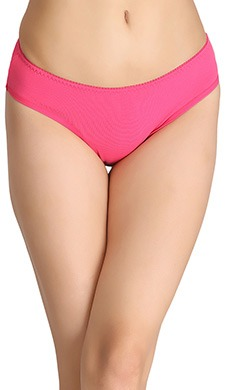 Cotton Low-Waist Bikini With Trimmed Elastic - Pink