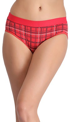 Cotton High Waist Checked Bikini