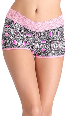 Cotton Mid Waist Printed Boyshorts With Lace Waistband