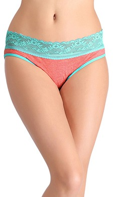 Cotton Mid Wasit Bikini With Lace Waistband