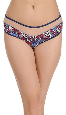 Cotton Mid Waist Floral Print Hipster with Powenet Waistband