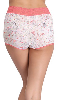 Cotton Floral Print Boyshorts with Lace Waistband