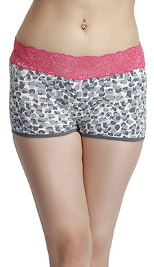 Mid Waist Animal Print Boyshorts With Lace Waistband