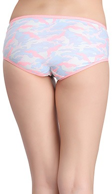 Cotton Mid Waist Hipster Panty with Lace Sides