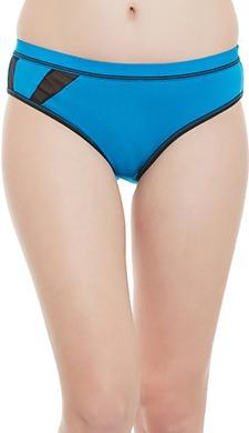 Cotton Mid Waist Bikini With Powernet Panels