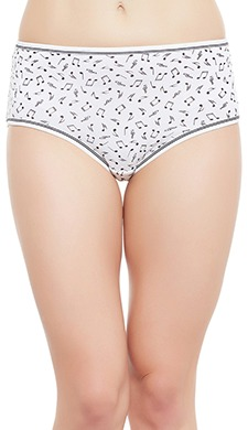 Cotton Mid Waist Musical Note Print Hipster