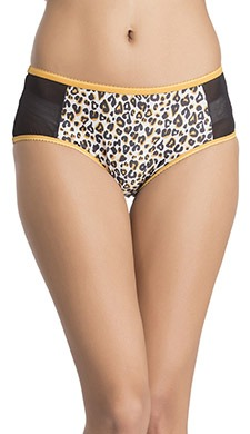 Mid Waist Animal Print Hipster With Powernet Sides
