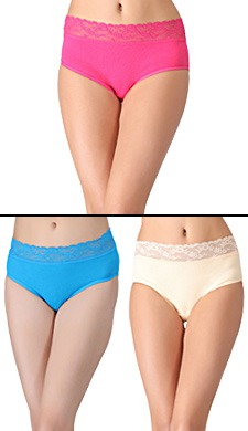 Set Of 3 Cotton High Waist Hipsters With Lace Waists