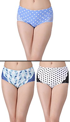 Set Of 3 Cotton High Waist Printed Hipsters - 50585