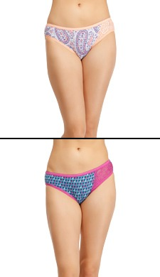 Set Of 2 Cotton Rich Mid Waist Printed Bikinis