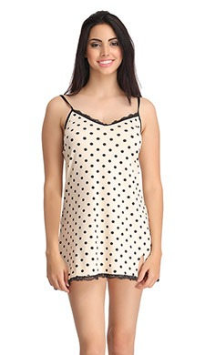 Polka Print Babydoll With Lace Trim