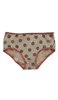 Polka Print Mid Waist Hipster With Contrast Band