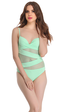 Polyamide & Powernet Monokini Swimsuit In Light Green