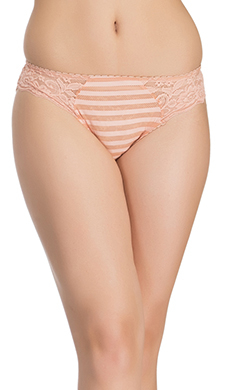 Peach Striped Bikini With Side Lacing