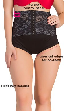 Tummy Tucker In Black With Lacy Waist Cincher Girdle