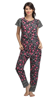 Printed Bell Sleeve Top And Pyjama Set-Black