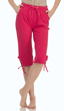 Printed Cotton Capri In Red
