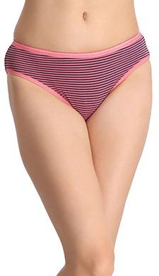 Printed Cotton Mid-Waist Bikini - Pink