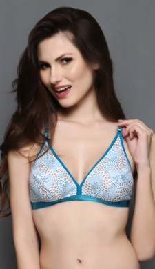 Printed Cotton Non-padded Bra In Turquoise