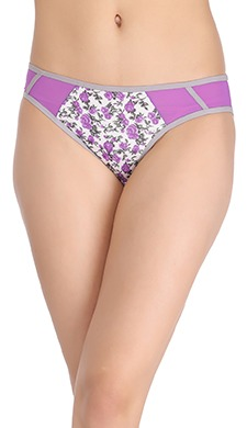 Printed Mid Waist Bikini With Powernet Side Wings - Purple