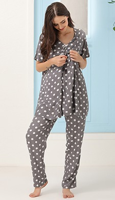 Apple Print Top & Pyjama Maternity Set