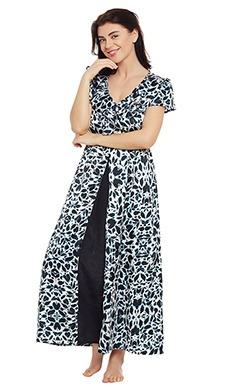Satin Printed Nighty with Frilled Neckline - Clovia Fashion Shop By Fabric