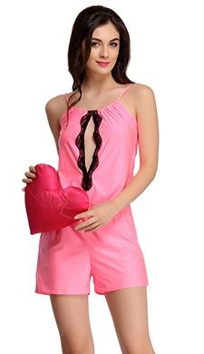 Sensuous Pink Jumpsuit With Black Lace
